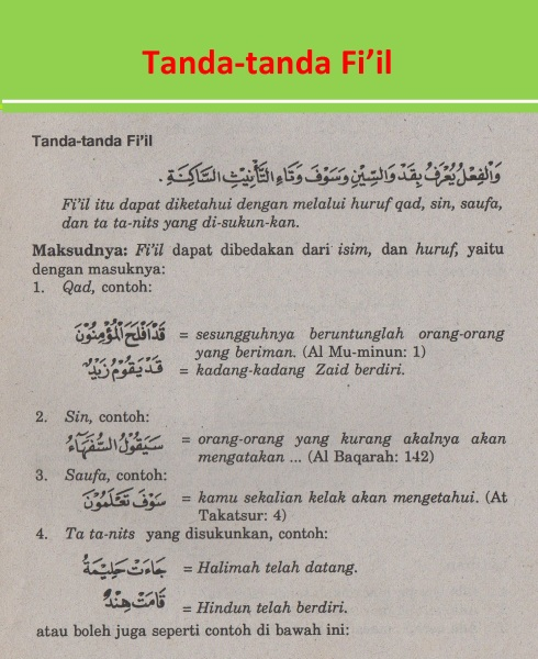 belajar bahasa arab ilmu nahwu tanda-tanda Fi'il