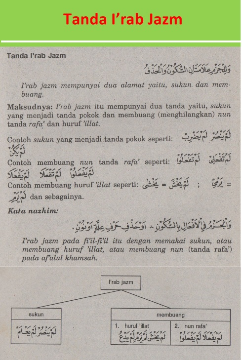 belajar bahasa arab ilmu nahwu tanda-tanda i'rab jazm