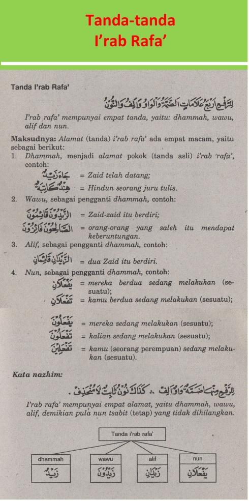 belajar bahasa arab ilmu nahwu tanda-tanda i'rab rafa'