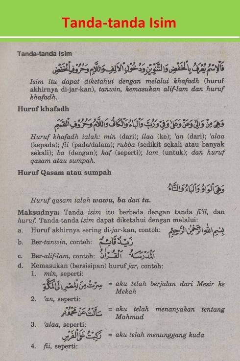 belajar bahasa arab ilmu nahwu tanda-tanda isim