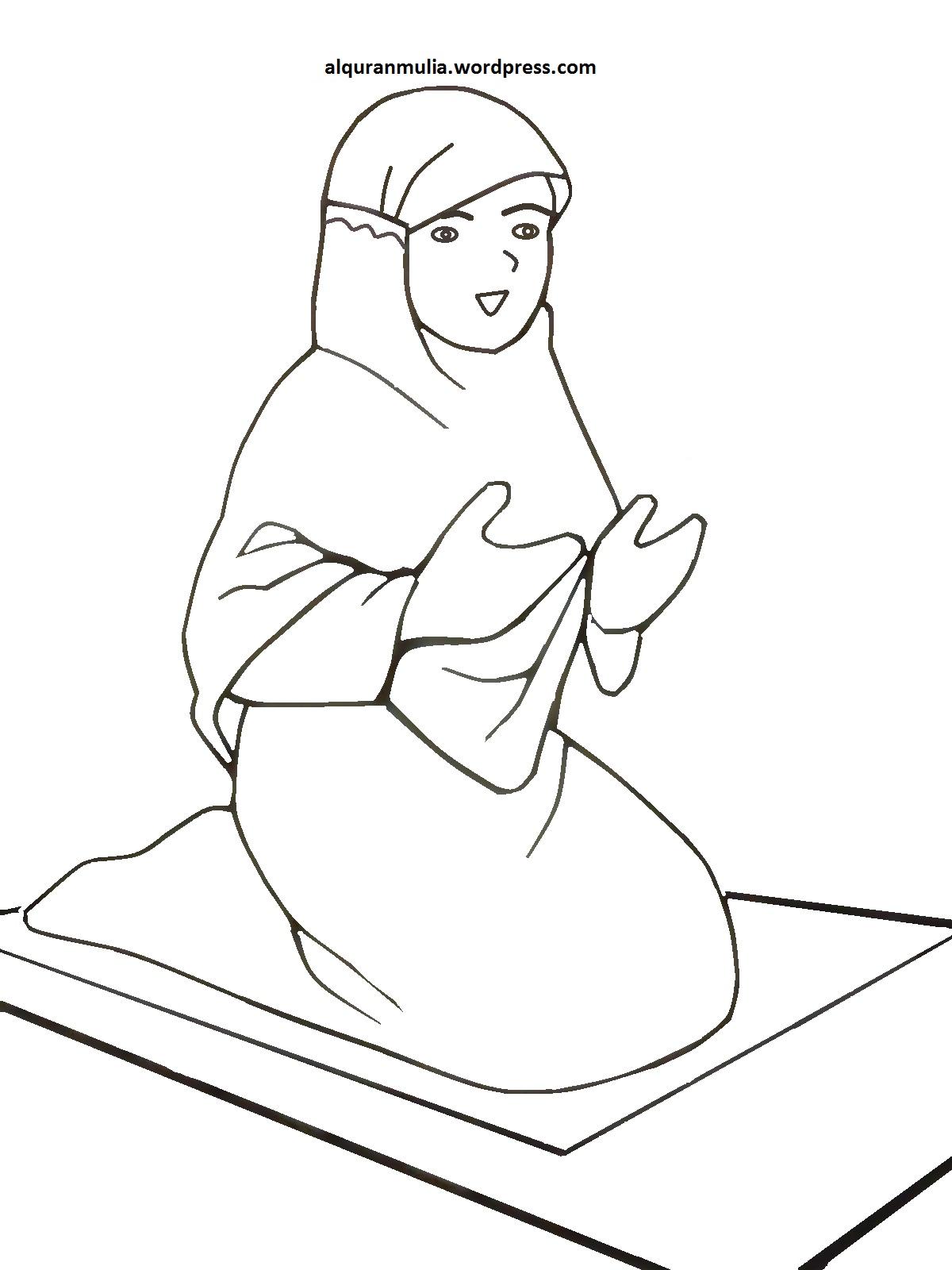 Gambar Kartun Muslimah Untuk Diwarnai