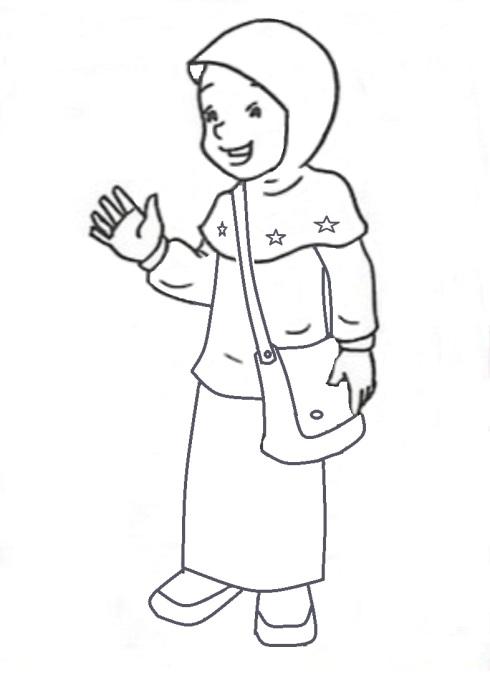 Mewarnai gambar  anak muslimah 3
