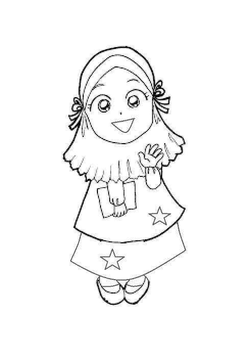 Mewarnai gambar  anak muslimah 4