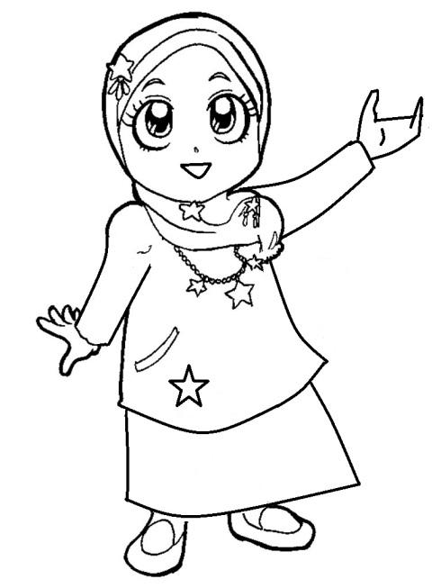 Mewarnai gambar  anak muslimah 7