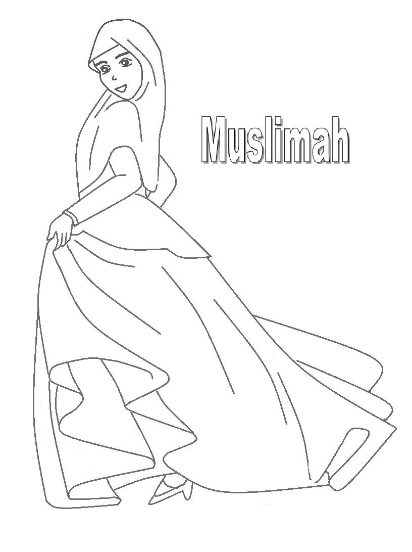 Mewarnai Gambar Gambar Mewarnai Anak Muslim Perempuan