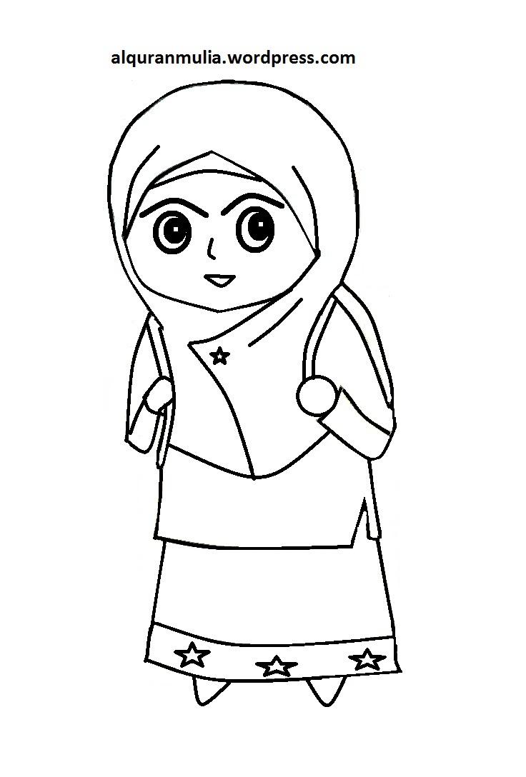Mewarnai Gambar Kartun Anak Muslim 13 Alquranmulia