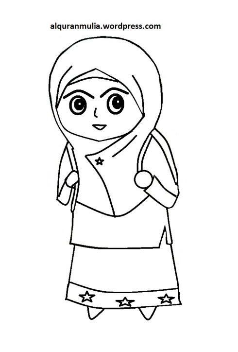 Mewarnai gambar kartun anak muslimah 13
