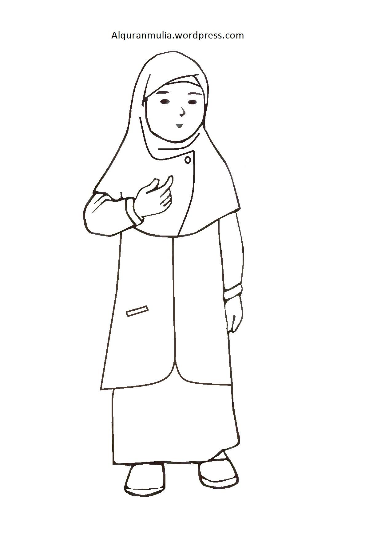 Mewarnai Gambar Kartun Anak Muslimah 16