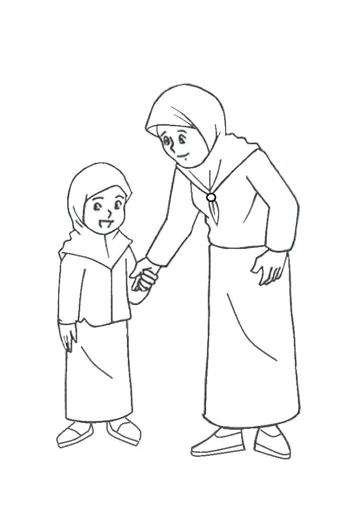 Mewarnai Gambar Kartun Anak Muslim 17 Alquranmulia
