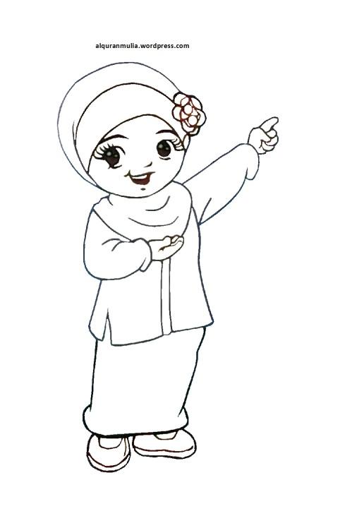 Mewarnai gambar kartun anak muslimah 18