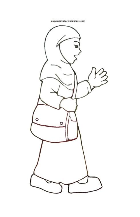 Mewarnai gambar kartun anak muslimah 19