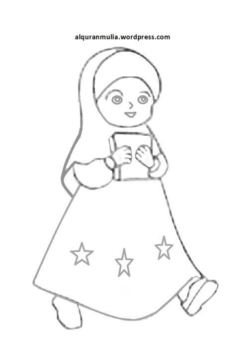 Mewarnai gambar kartun anak muslimah 20