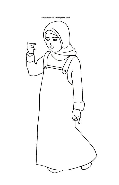 Mewarnai gambar kartun anak muslimah 21