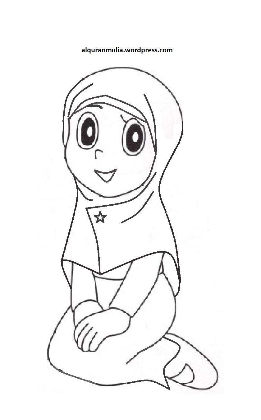 Mewarnai Gambar Kartun Anak Muslimah 22 Alquranmulia