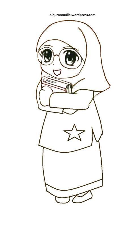 Mewarnai gambar kartun anak muslimah 23