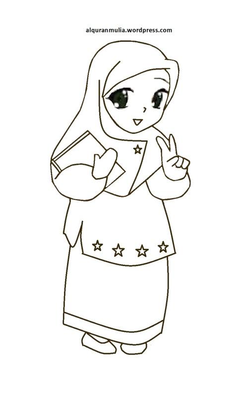 Mewarnai gambar kartun anak muslimah 24