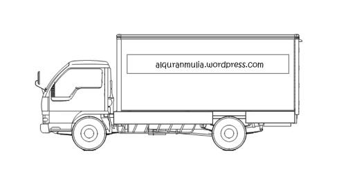 Mewarnai gambar mobil truk 3 anak muslim