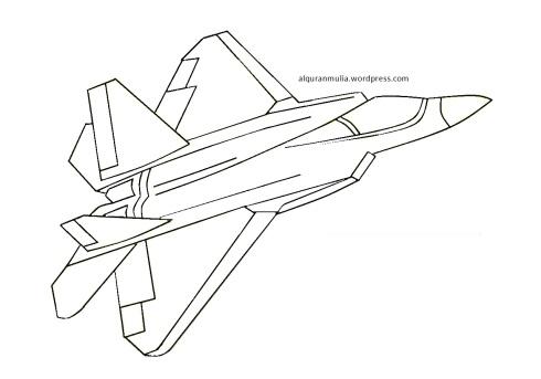 Mewarnai gambar pesawat tempur4 anak muslim
