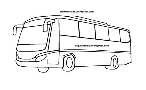 Mewarnai gambar bus3 anak muslim