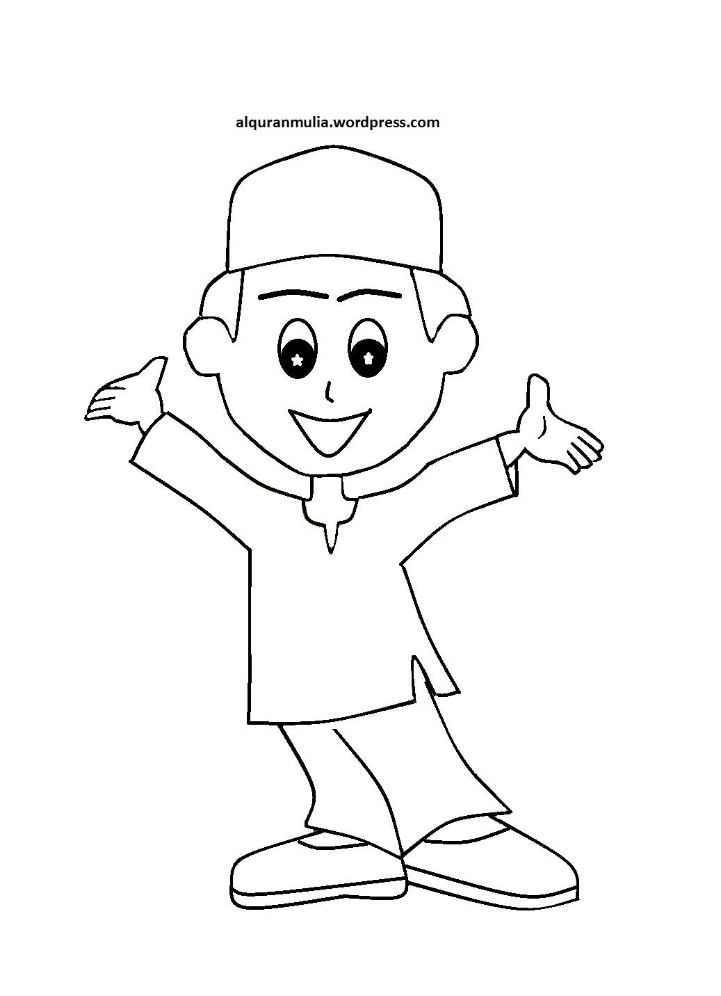 Mewarnai gambar kartun anak muslim 11