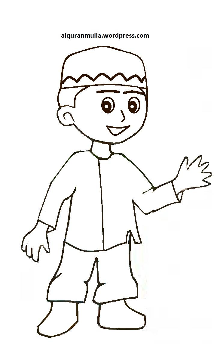 Mewarnai Gambar Kartun Anak Muslim 12 Alquranmulia