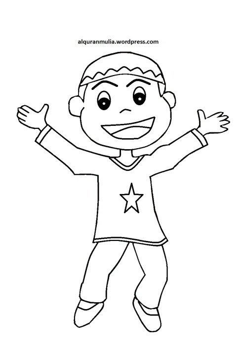 Mewarnai gambar kartun anak muslim 15