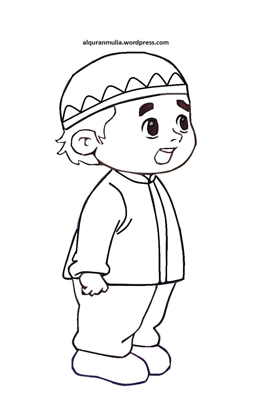 Download Gambar Kartun Ana Muslim Mewarnai