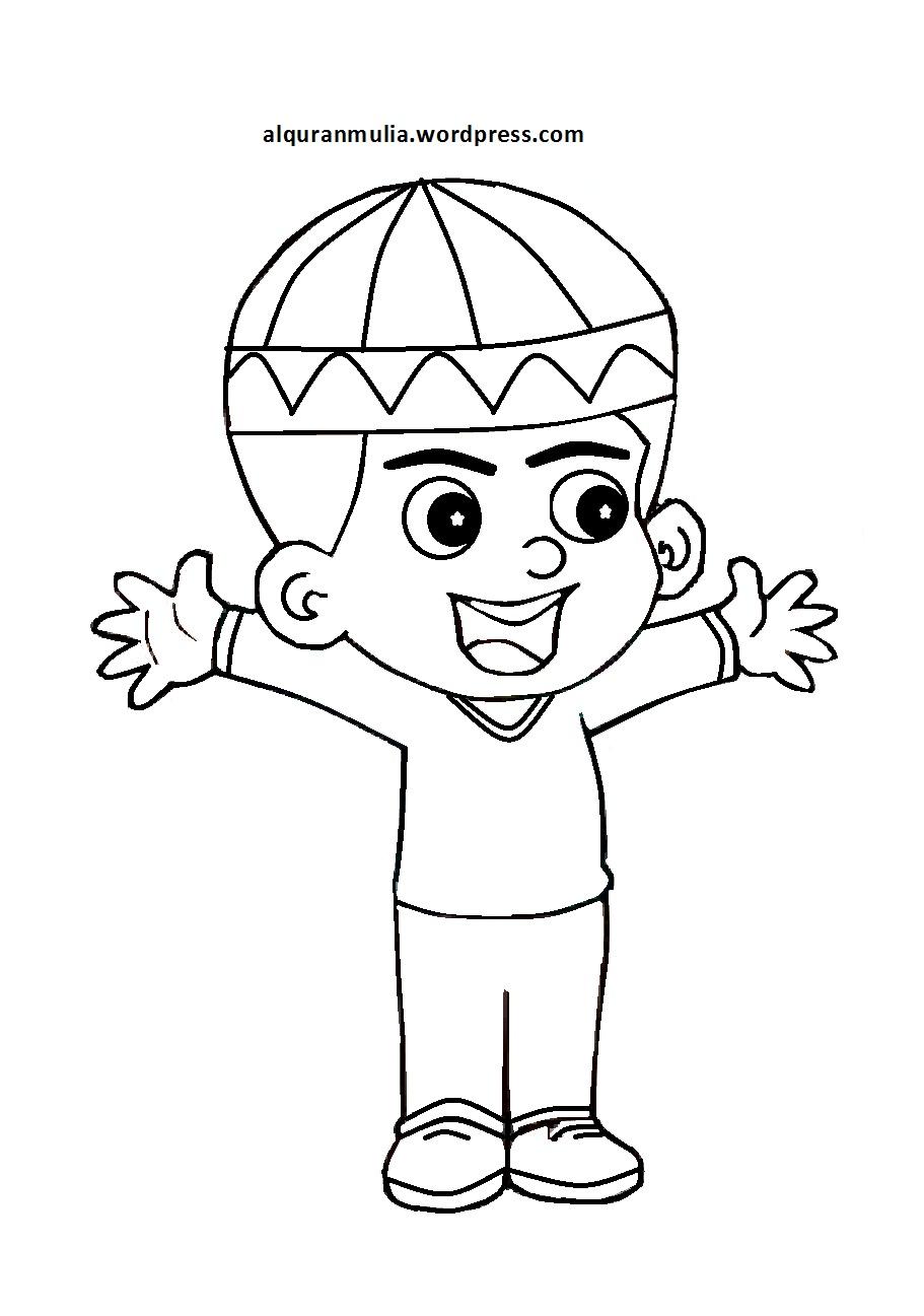 Mewarnai Gambar Kartun Anak Muslim 21 Alquranmulia