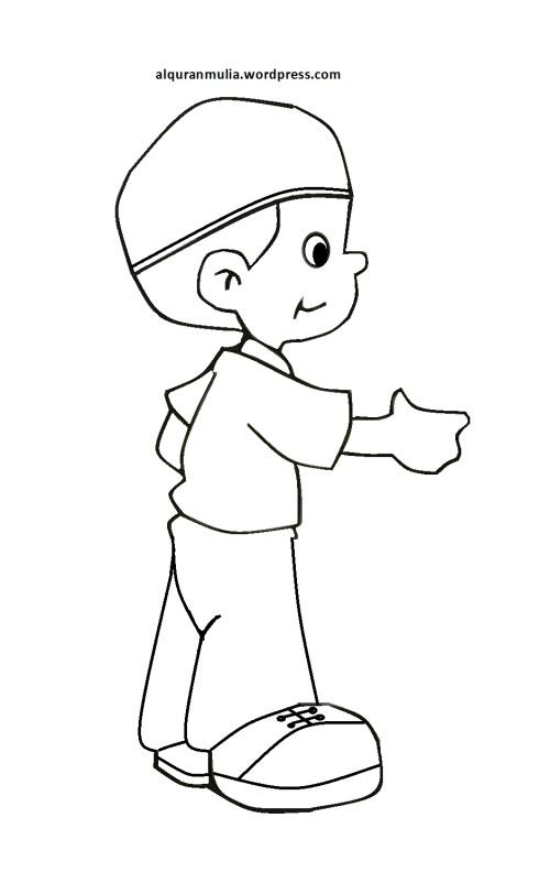 Mewarnai gambar kartun anak muslim 22
