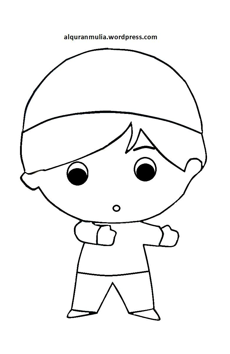 Mewarnai Gambar Kartun Anak Muslim 25