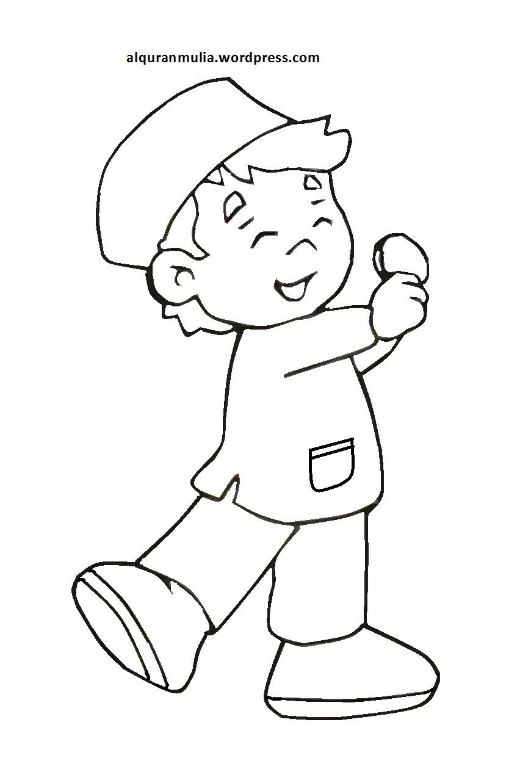 Mewarnai Gambar Kartun Anak Muslim 26