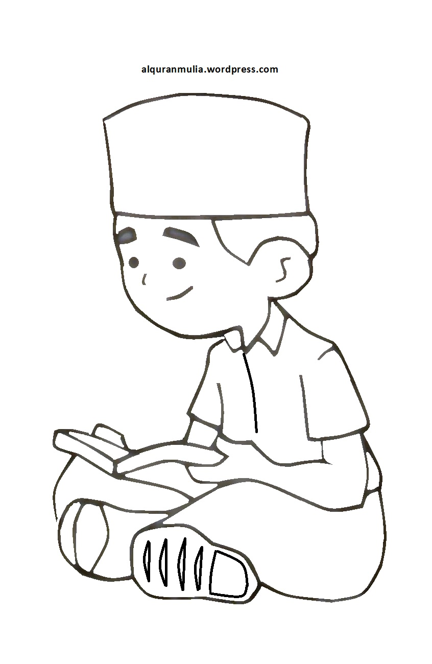 Mewarnai Gambar Kartun Anak Muslim 5 Alquranmulia