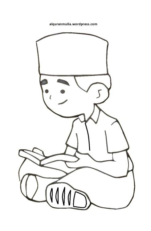Mewarnai gambar kartun anak muslim 5