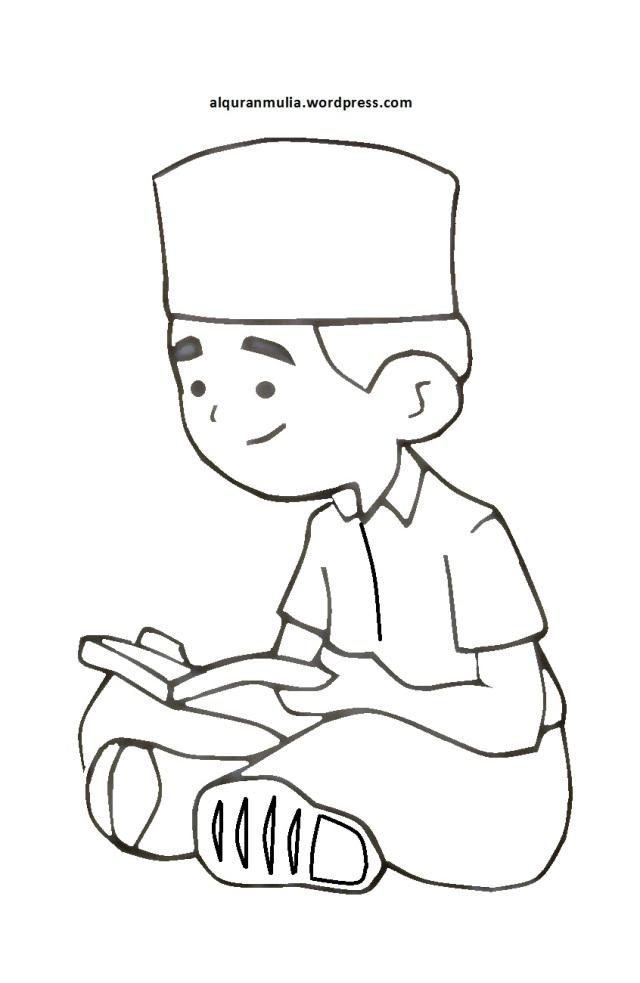 Mewarnai Gambar Kartun Anak Muslim 5 Alqur Anmulia