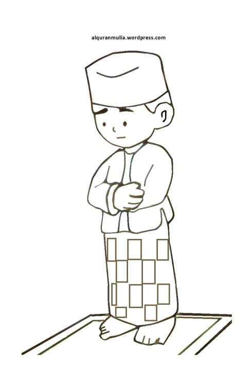 Mewarnai gambar kartun anak muslim 6