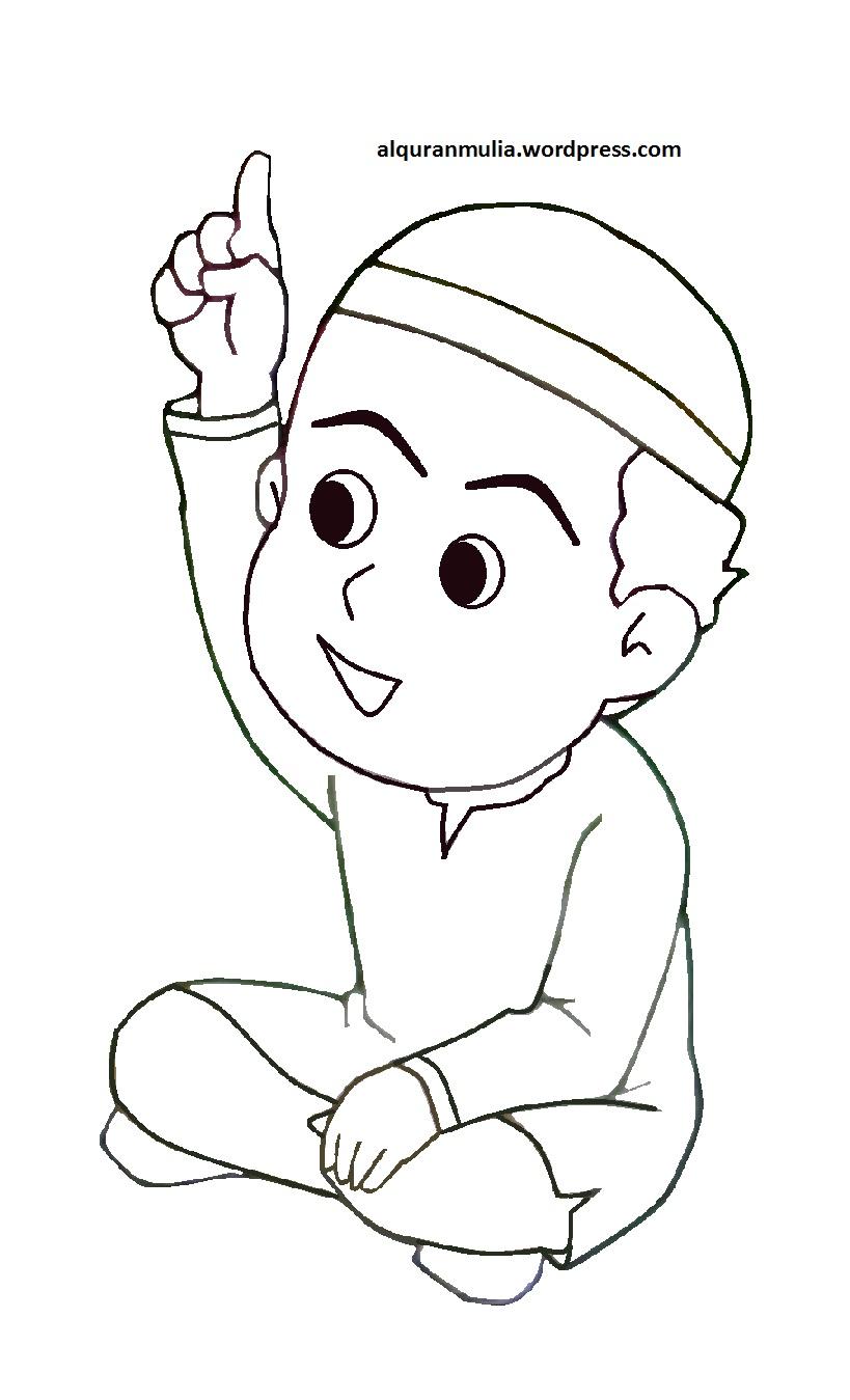 Mewarnai Gambar Kartun Anak Muslim 9 Alquranmulia