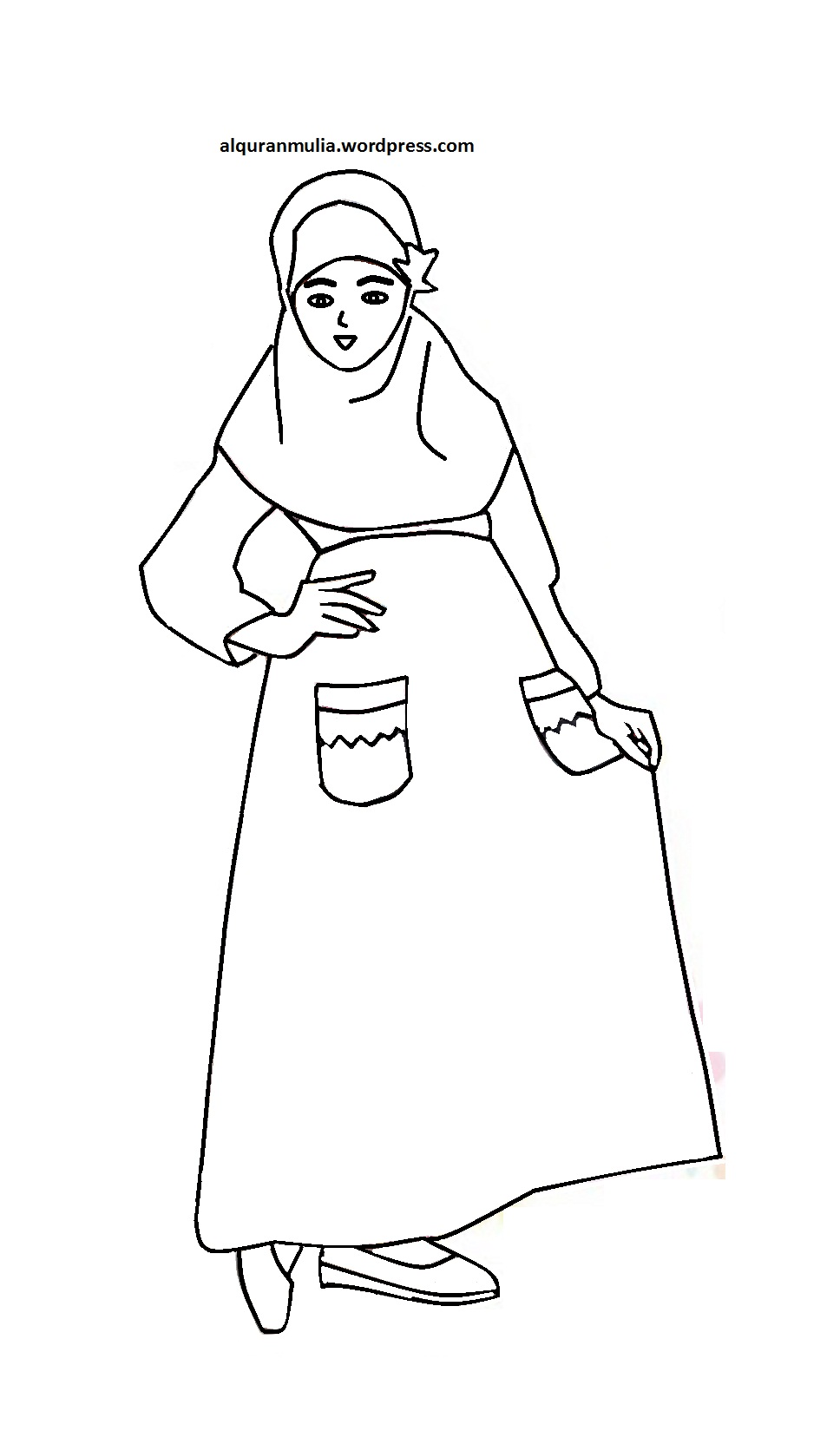 Mewarnai Gambar Kartun Anak Muslimah 26