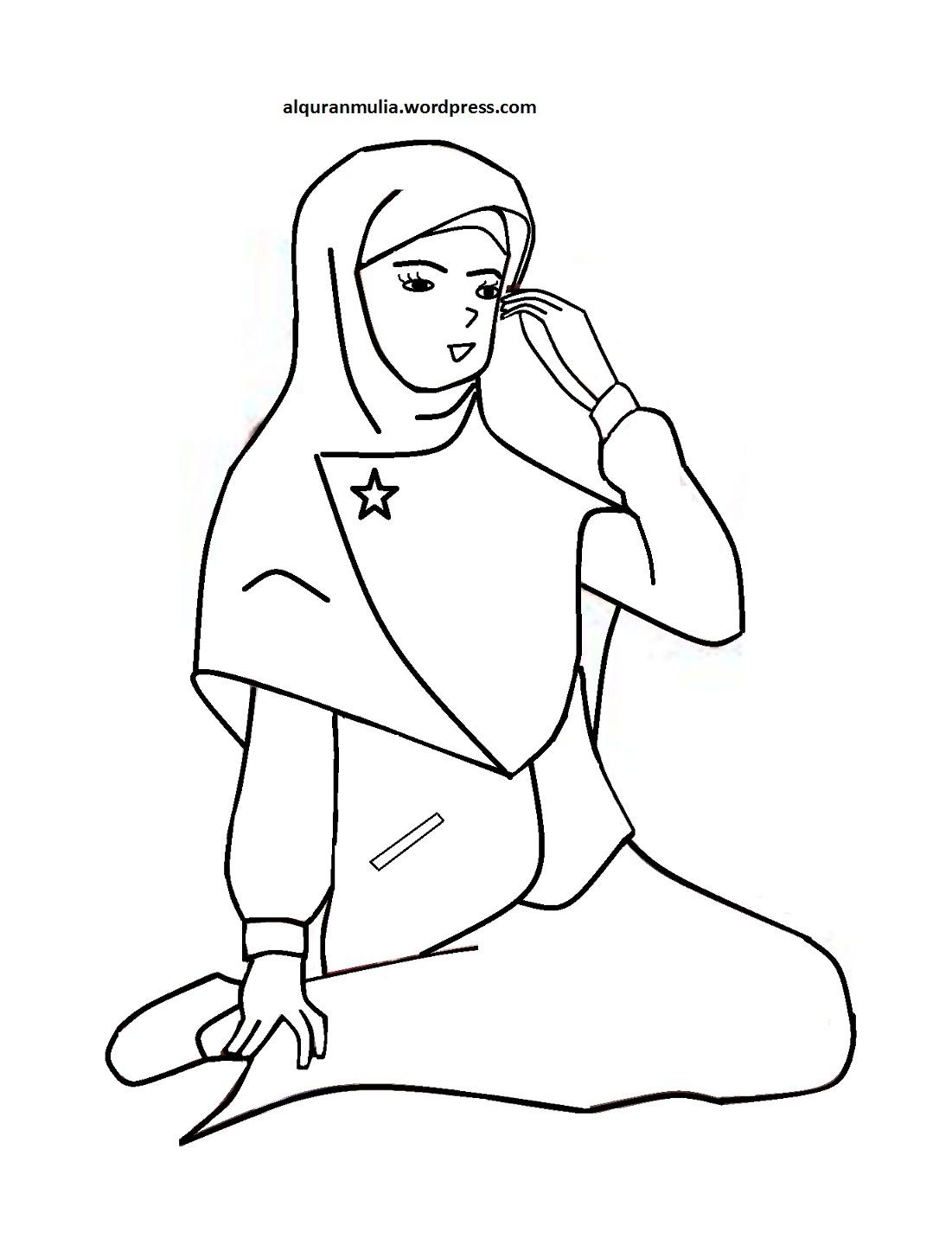 Mewarnai Gambar Kartun Anak Muslimah 29 Alquranmulia