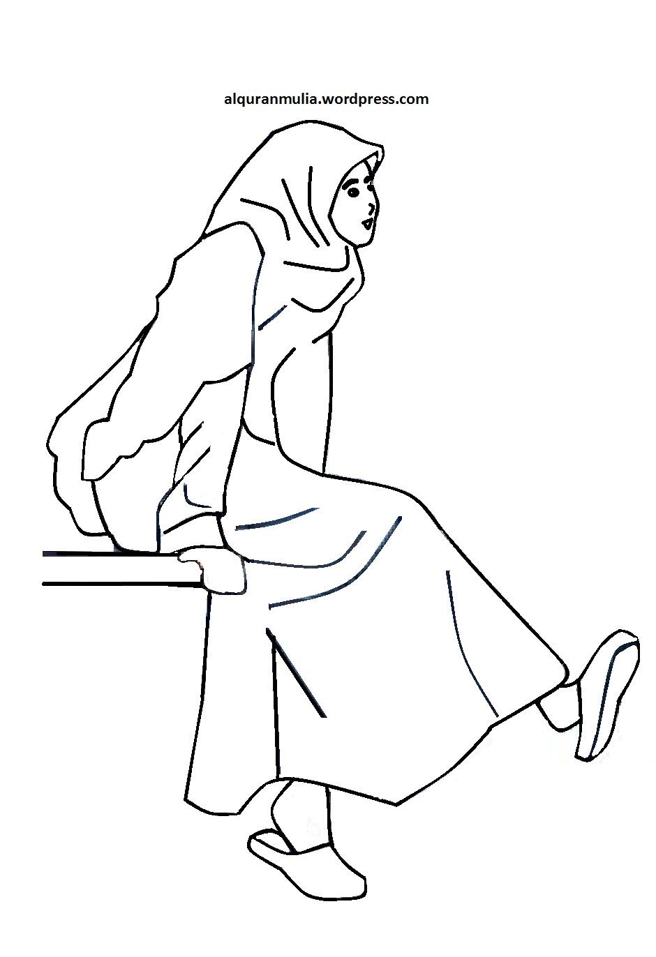 Mewarnai Gambar Kartun Anak Muslimah 30 Alquranmulia