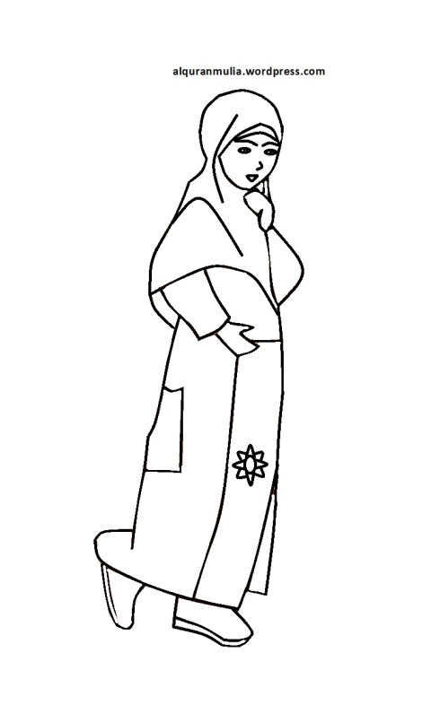 Mewarnai gambar kartun anak muslimah 31