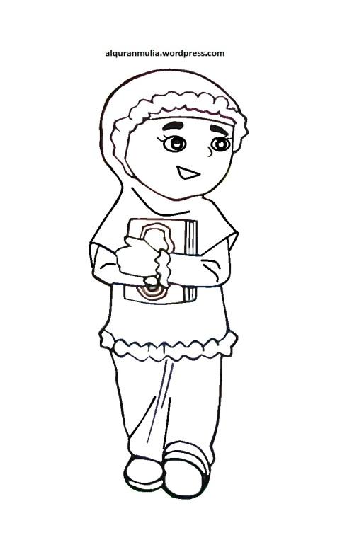 Mewarnai gambar kartun anak muslimah 42
