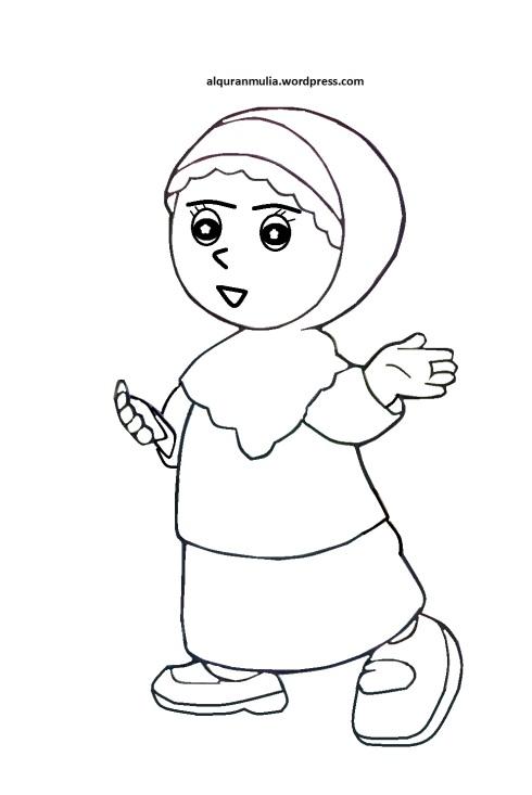 Mewarnai gambar kartun anak muslimah 44