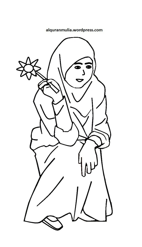 Mewarnai gambar kartun anak muslimah 45