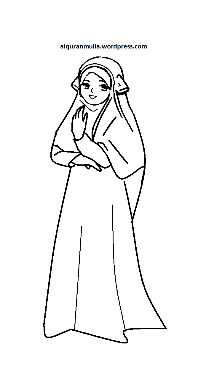 Mewarnai Gambar Kartun Anak Muslimah 47