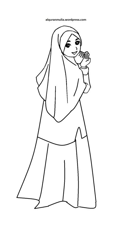 Mewarnai gambar kartun anak muslimah 48