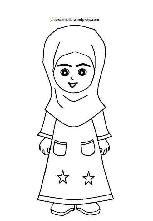 Mewarnai gambar kartun anak muslimah 50