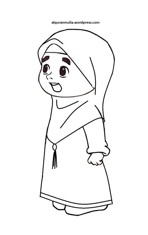 Mewarnai gambar kartun anak muslimah 51