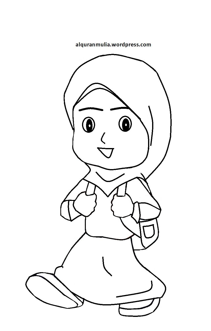 Mewarnai Gambar Kartun Anak Muslimah 56 Alquranmulia