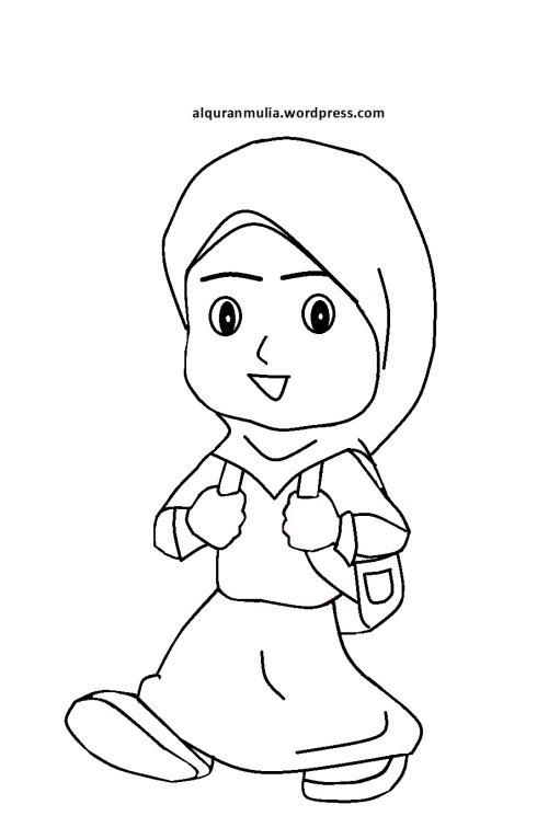 Mewarnai Gambar Kartun Anak Muslimah 56  alqur\u002639;anmulia