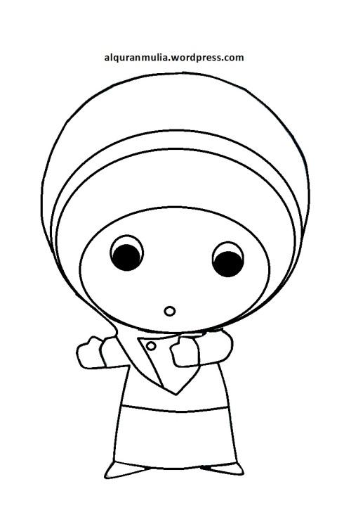 Mewarnai gambar kartun anak muslimah 62